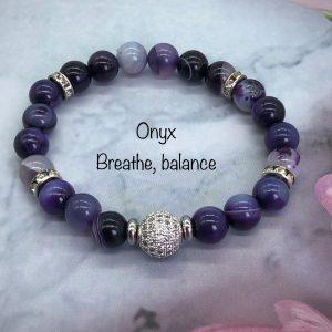Onyx Bracelet With Crystal Ball