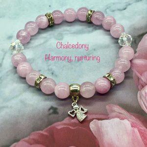 Chalcedony Bracelet With Angel Charm