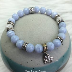 Blue Lace Agate Bracelet With Heart Charm