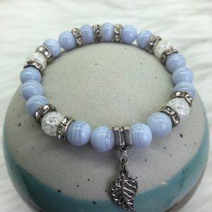 Blue Lace Agate Bracelet With Leaf Charm