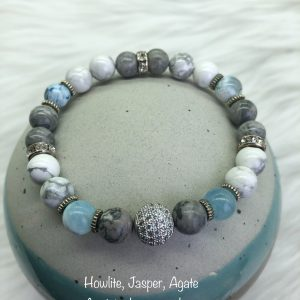 Howlite, Jasper And Agate Bracelet With Crystal Ball