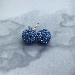 Crystal Ball 10mm Earrings Light Sapphire