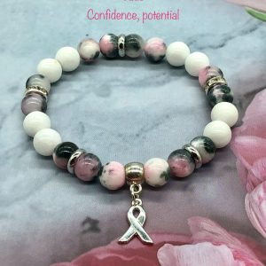 Jade Bracelet With Breast Cancer Ribbon Charm