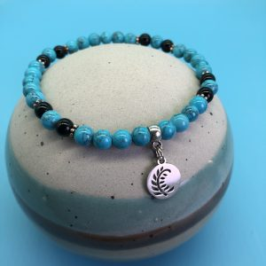Turquoise Anklet With Round Leaf Charm