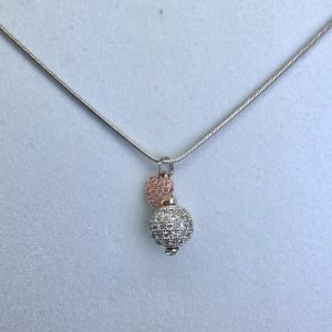Crystal Ball Crystal Necklace With Rose Gold Heart Charm