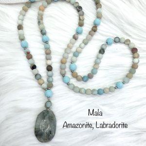 Amazonite And Labradorite Mala