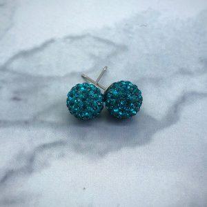Crystal Ball 10mm Earrings Blue Zircon