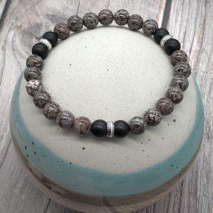 Mens Bronzite And Obsidian Bracelet
