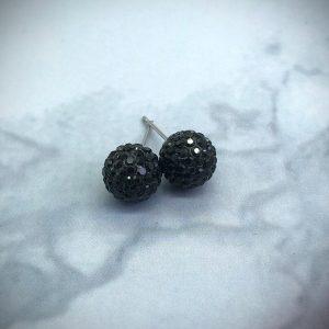 Crystal Ball 10mm Earrings Jet Black