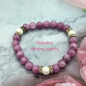 Chalcedony And Cracked Crystal Bracelet