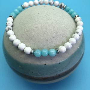 Howlite  And Amazonite Anklet