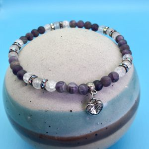 Amethyst And Cracked Crystal Anklet With Heart Charm