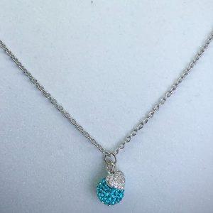 Crystal Ball Crystal Necklace Aquamarine