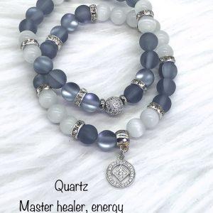 Quartz Bracelet With Silver Charm