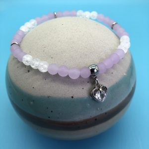 Violet Jade Anklet with Open Heart Charm