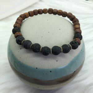 Mens Lava And Brown Wood Bracelet