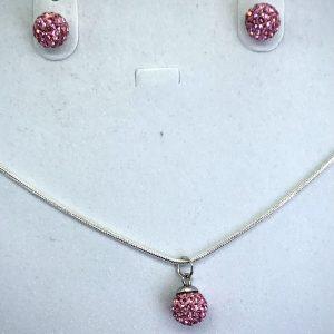 Crystal Ball Crystal Necklace Light Rose 8mm