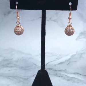 Pave Ball Rose Gold Tone Drop Earrings