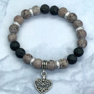 Crazy Agate And Lava Bracelet With Heart Charm