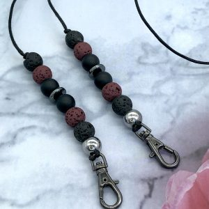 Red And Black Lava And Onyx Mask Lanyard