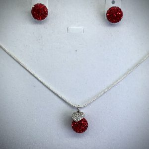 Crystal Ball Crystal Necklace Red