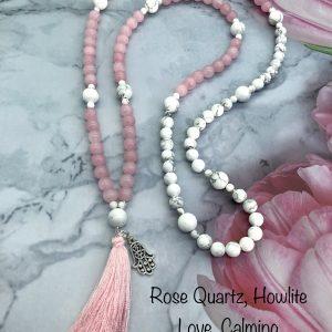 Rose Quartz and Howlite Mala