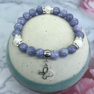 Blue Angelite And Crackle Crystal Bracelet With Butterfly Charm