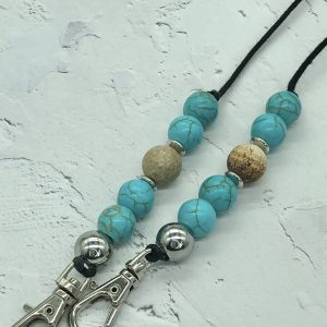 Blue Howlite and Picture Jasper Mask Lanyard