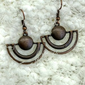 Bronze Half Round Drop Earrings