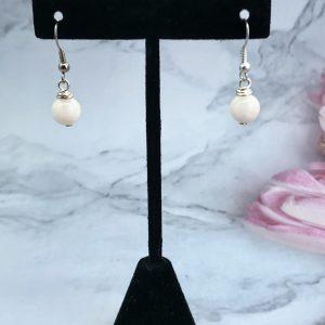 Natural White Angelite Drop Earrings