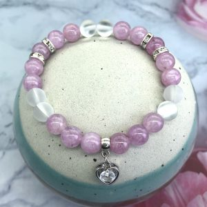 Pink Angelite And White Quartz Bracelet With Heart Charm