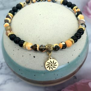 Yellow Agate Anklet With Sun Charm