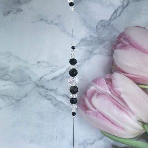 Silver Obsidian Suncatcher 12″
