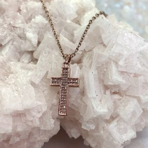 CZ Cross Necklace Rose Gold
