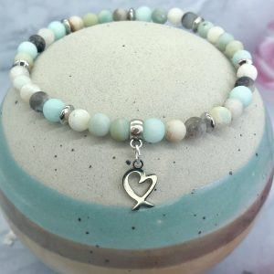 Amazonite Anklet With Heart Charm