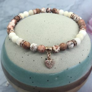 Agate And Angelite Anklet With Heart Charm