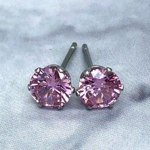 6mm Pink CZ  Earrings