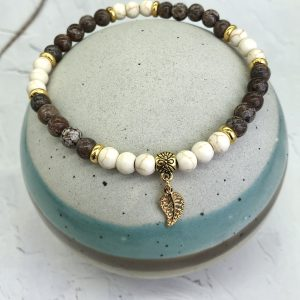 Coffee Bean Jasper And Howlite Anklet With Leaf Charm