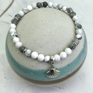 Howlite And Jasper Anklet With Seashell Charm