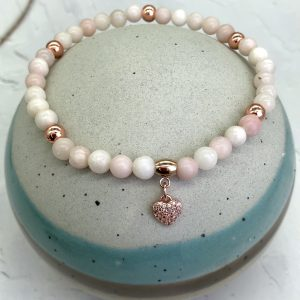 Pink Opal Anklet With Heart Charm
