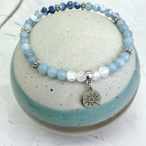 Aquamarine And Agate Anklet With Sun Charm