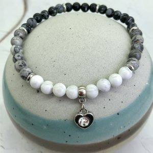 Howlite, Jasper And Obsidian Anklet With Heart Charm