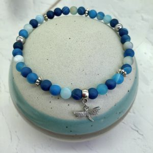 Matte Blue Agate Anklet With Dragonfly Charm