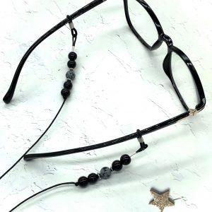 Lava And Obsidian Eyeglass Lanyard